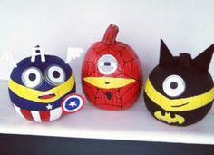 2014 painted pumpkins Halloween super minions Captain America, Spider-Man, Batman