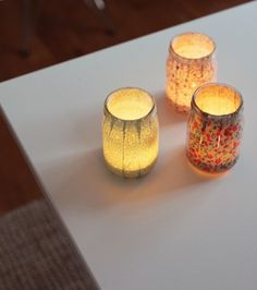 DIY Jar Candle Holders     @Mimi B. B. Danicic let's make these for the StarBQ! We could add lids- poke holes in the top and add handles?