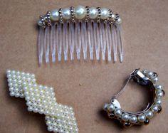 Vintage hair barrettes hair comb 3 mod style mid century hair accessory hair clip hair slide hair jewelry hair ornament (ABN)