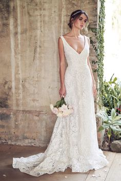 9717beee8c5 V-neck Allover Sequin Embroidered Corded Lace A-line Wedding Dress