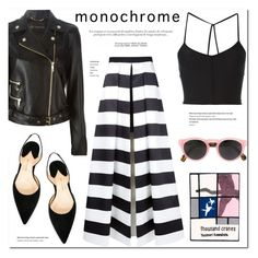 """""""Monochrome Attire"""" by stellaasteria ❤ liked on Polyvore featuring Versace, Ann Demeulemeester, Paul Andrew, Alice + Olivia, Illesteva, Olympia Le-Tan and monochrome"""