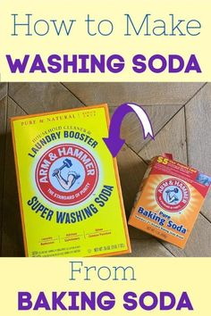 Did you know you can make washing soda from baking soda just by heating it in the oven? This is the perfect way to get your hands on this sometimes hard to find cleaning recipe ingredient. #UsesOfBakingPowderAndBakingSoda #BakingPowderUses Baking Soda Beauty Uses, Baking Soda Uses, Baking Soda Drain Cleaner, Baking Powder Uses, Baking Soda Health, Arm And Hammer Super Washing Soda, Baking Soda On Carpet, Homemade Laundry Detergent, Organic Cleaning Products