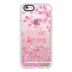 iPhone 6 Plus/6/5/5s/5c Case - Modern hello spring typography pink... ($40) ❤ liked on Polyvore featuring accessories, tech accessories, phone cases, iphone case, pink iphone case, iphone cover case, iphone hard case and apple iphone cases