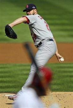 Chris Carpenter pitching in the first inning of the NLDS game 3, 10/10/12.