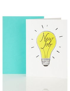 Buy the New Job Lightbulb Card from Marks and Spencer's range. New Job Card, New Job Gift, Good Luck New Job, New Job Congratulations, Job Letter, Funny New, Hand Lettering, Brush Lettering, Card Tags