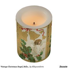 Vintage Christmas Angel, Bells and Holly Flameless Candle
