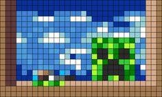 Minecraft Creeper Painting Perler Bead Pattern | Bead Sprites | Characters Fuse Bead Patterns