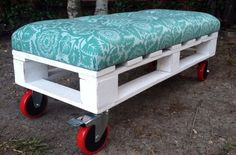 """Pallet bench that can be used as extra seating, placed at the foot of the bed or even as a coffee table. The fabric seat is tufted with six buttons. Caster wheels.  The upholstery is made from 2"""" high density furniture foam that is shielded with an extra ½"""" layer of soft wrapping fabric for additional cushioning. The bench measures: length 42"""" width 17"""" and height 15.5"""""""