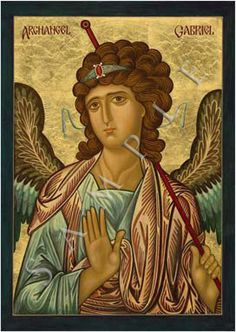 Archangel Gabriel (ICON) Religious Icons, Religious Art, Greek Icons, San Gabriel, French Icons, Russian Icons, Byzantine Icons, Black Angels, Angels Among Us