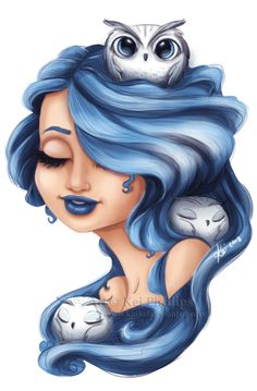 Love blue hair and owls <3 Wish owls would hang with me like that :) #bluehair #owls
