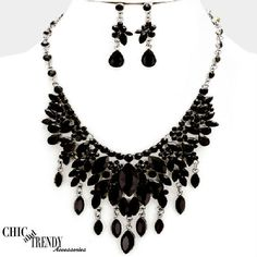 HIGH END BLACK CHUNKY CRYSTAL PROM WEDDING FORMAL NECKLACE JEWELRY SET TRENDY #Unbranded