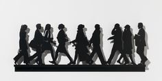 Julian Opie  City Walkers #1, 2014  Sculptures, Powder coasted laser cut steel wall relief  Edition 50 // 28.6 x 75.3 x 3.8 cm