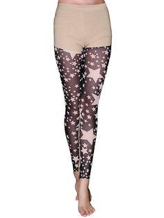 Women's Star Pattern Lace Spliced Leggings