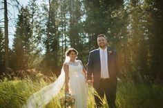 Outdoor wedding day photos taken at Rainbow Ranch in Big Sky, Montana. #montanawedding #bigskywedding