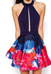 Blue Off the Shoulder Floral Flare Dress - Sheinside.com