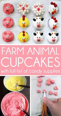 Simple Farm Animal Cupcakes - You will be Mother of the Year if you add these . - Simple Farm Animal Cupcakes – You will be a mother of the year when you prepare these simple farm - Chicken Cupcakes, Sheep Cupcakes, Farm Animal Cupcakes, Farm Animal Party, Farm Animal Birthday, Barnyard Party, Animal Cakes, Farm Party, Cupcakes Kids