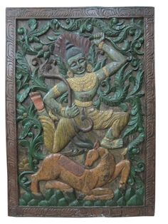 #Woodenpanel #Antiquepanel #Indianfurniture #Panel   Antique Indian Carving Ram with Deer Hand Carved Wall Hanging