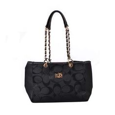 #CoachNewYorkStories Coach Logo Monogram Large Black Shoulder Bags DOY