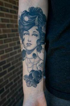 Grey Ink Vintage Girl Head Tattoo On Forearm