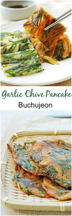 Korean pancakes made with garlic chives (buchu)! Simple and tasty!… Magnificent Korean pancakes made with garlic chives (buchu)! Simple and tasty! The post Korean pancakes made with garlic chives (buchu)! Simple and tasty!… appeared first on Trupsy . K Food, Good Food, Yummy Food, Tasty, Food Porn, Veggie Food, Korean Pancake, Pancake Recipes, Korean Recipes