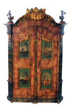 Painted wood cabinet, Germany, 1846, Wasserburg Museum