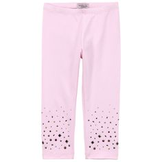 Light pink leggings made of stretch jersey. Elasticated waistband. Rhinestones and stones at the leg bottom. - $ 36.50