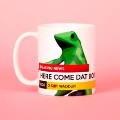 Here Comes Dat Boi Frog Breaking News Funny Mug Gifts for Him Meme Mug... ($14) ❤ liked on Polyvore featuring home, kitchen & dining, drinkware, drink & barware, home & living, mugs, silver and silver mug