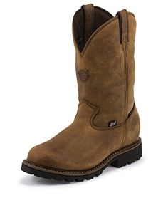 """Justin Original Workboots 4080 Men's 11"""" Stag Gaucho J-Max Waterproof Insulated Work Boot, Brown - 7EE - Brought to you by Avarsha.com"""