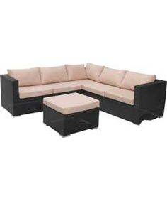 Rattan Effect 5 Seat Patio Furniture Sofa Set with Cushions.
