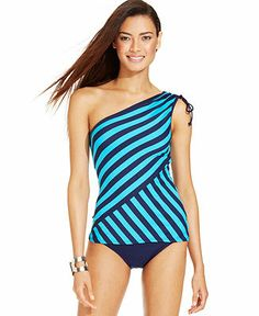 DKNY One-Shoulder Striped Tankini Top & Classic Brief Bottom - Swimwear - Women - Macy's