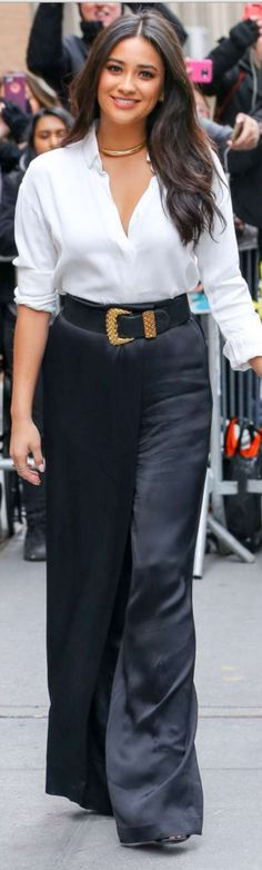 Who made Shay Mitchell's black pants, sandals, and white button down shirt?