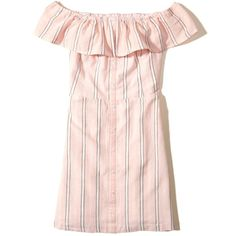 Hollister Ruffle Off-The-Shoulder Woven Dress (£33) ❤ liked on Polyvore featuring dresses, light pink stripe, pink off the shoulder dress, off-the-shoulder ruffle dresses, pink dress, off shoulder dress and stretch dresses