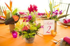 Tropical flower decor, table number, tropical wedding, tropical flowers, weddings costa rica