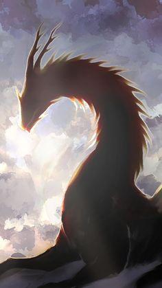 Digital art, clouds, dragon, fantasy, 720x1280 wallpaper