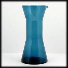 Aseda Blue Art Glass Pitcher Bo Borgstrom 1960s Mid Century Scandinavian