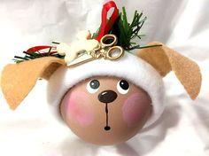 Dog Groomer Gift Christmas Ornamenta Brown Dog Scissors Bone