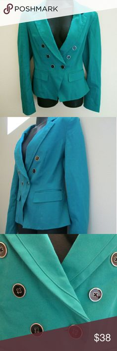White House Black Market Turquoise Blazer Excellent condition - no holes, stains or rips. Fully lined. Shell is 98% cotton, 2% spandex. Lining is 100% polyester. Comes from a smoke-free home.  No trades. No holds. White House Black Market Jackets & Coats Blazers