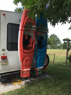 DYI kayak rack for the back of a 5th wheel camper. This is the first version. We want to refine it but you get the idea.