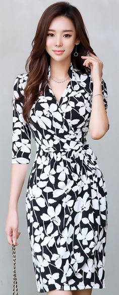 StyleOnme_Floral Print Mandarin Collar Wrap Dress #floral #black #white #elegant #chic #feminine #koreanfashion #kstyle #kfashion #dress #summerlook