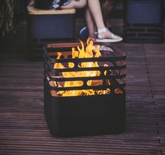 The Cube Fire Pit by Hofats, is a great solution for entertaining in your backyard, a sleek stainless steel fire basket that not only looks good, it is said to be extremely safe, thanks to a special design that keeps the firebowl always in balance by