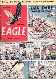 Eagle Comic 1950 Issue 1 front page Sci Fi Books, Comic Books, Children's Comics, Science Fiction Books, Books For Boys, Classic Comics, Retro Futurism, Comic Covers, Comic Character