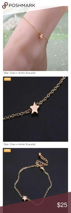 Ankle Bracelet NWT...delicate rose gold plated star charm ankle bracelet.... Celeste Jewelry Bracelets