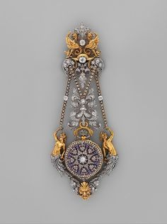 "Hippolyte Téterger (French, 1831–after 1891). Watch and Chatelaine, ca. 1875–78.  French, Paris. The Metropolitan Museum of Art, New York. Gift of Cele H. and William B. Rubin, 1959 (59.43a–c)  | This work is featured in the ""The Luxury of Time: European Clocks and Watches"" exhibition, on view through March 27, 2016. #LuxuryofTime"