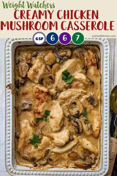 This delicious creamy chicken casserole is just 6 SmartPoints, per large portion, on Weight Watchers Freestyle plan. A wonderfully tasty Weight Watchers chicken recipe that is best served with mashed potato for extra comfort! Poulet Weight Watchers, Weight Watchers Casserole, Weight Watchers Meal Plans, Weight Watchers Diet, Weight Watcher Dinners, Weight Watchers Chicken, Ww Recipes, Healthy Recipes, Free Recipes