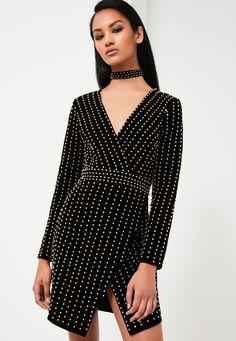 Missguided - Peace   Love Black Velvet Beaded Plunge Neck Dress