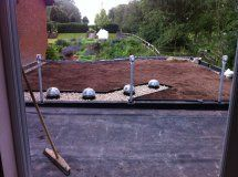 A green roof in Warwickshire. Waterproofing, functional layers, pebbles, retaining trim and substrate all installed - just add sedum blankets. Sedum Roof, Living Roofs, Green Roofs, Blankets, Layers, Layering, Blanket, Cover, Comforters