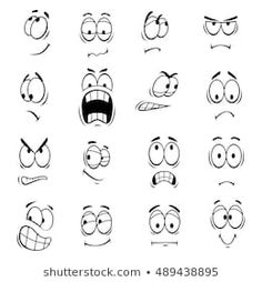 Similar Images, Stock Photos & Vectors of Cartoon faces. Each on a separate layer. - 141236302 - Human faces expressions and emotions. Cute smiles icons for emoticons. Cartoon Faces Expressions, Funny Cartoon Faces, Drawing Cartoon Faces, Cartoon Expression, Cartoon Eyes, Silly Faces, Drawing Expressions, Emoticon, Emoji