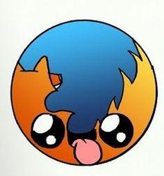 Kawaii Firefox App Drawings, Cute Cartoon Drawings, Cute Disney Drawings, Cute Easy Drawings, Cute Kawaii Drawings, Cartoon Art, Kawaii App, Kawaii Cute, Galaxy Phone Wallpaper