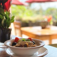 Bircher müsli Muesli, Chocolate Fondue, Bali, Desserts, Food, Mushroom, Bircher Muesli, Meal, Deserts