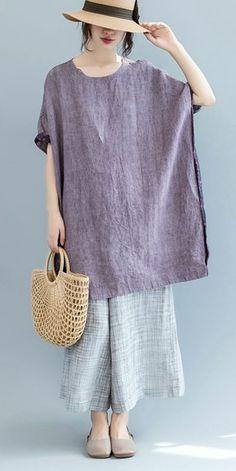 Plus Size Purple Long T Shirt Women Linen Blouse S2562